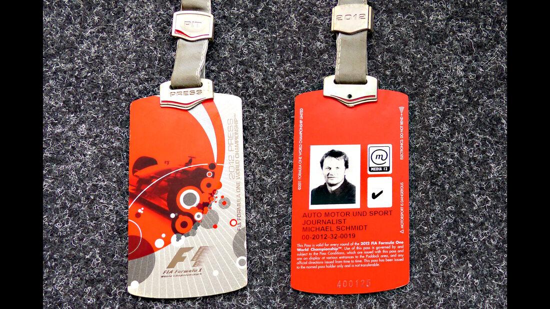 Formel 1 Presse-Akkreditierung Saison 2012