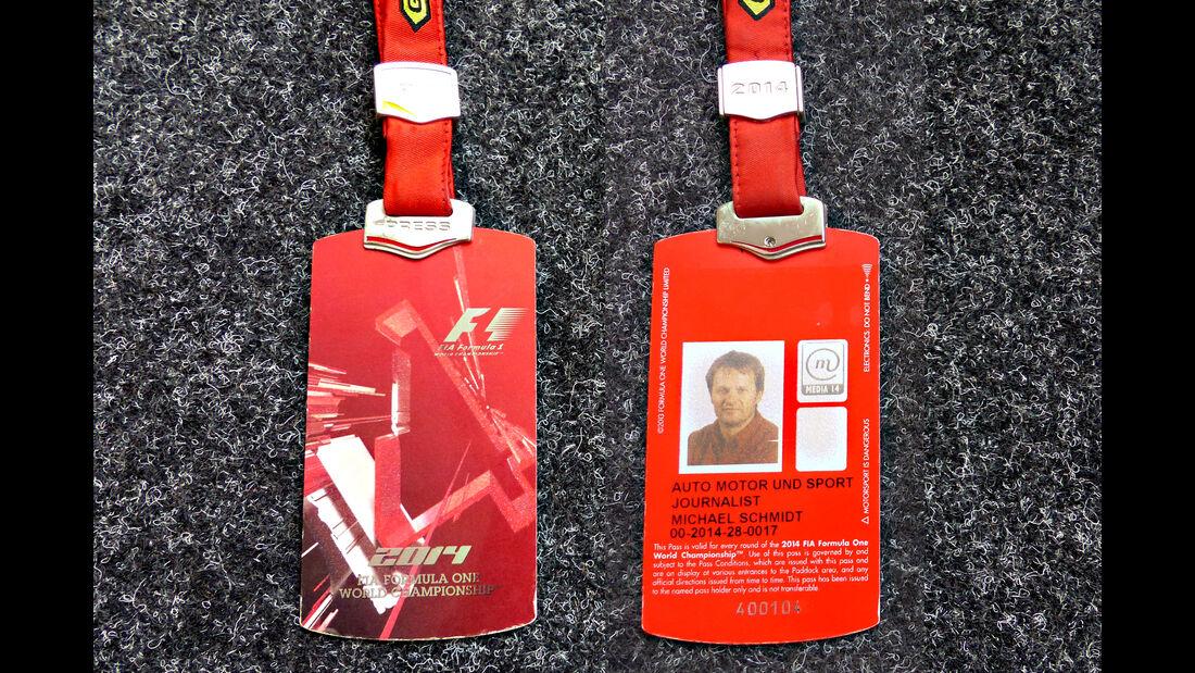 Formel 1 Presse-Akkreditierung Saison 2014