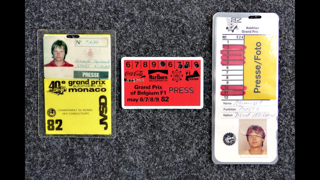 Formel 1 Presse-Akkreditierungen 1982