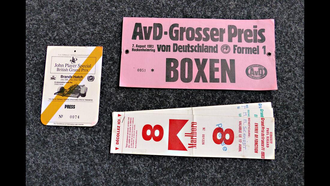 Formel 1 Presse-Akkreditierungen 1983/1984