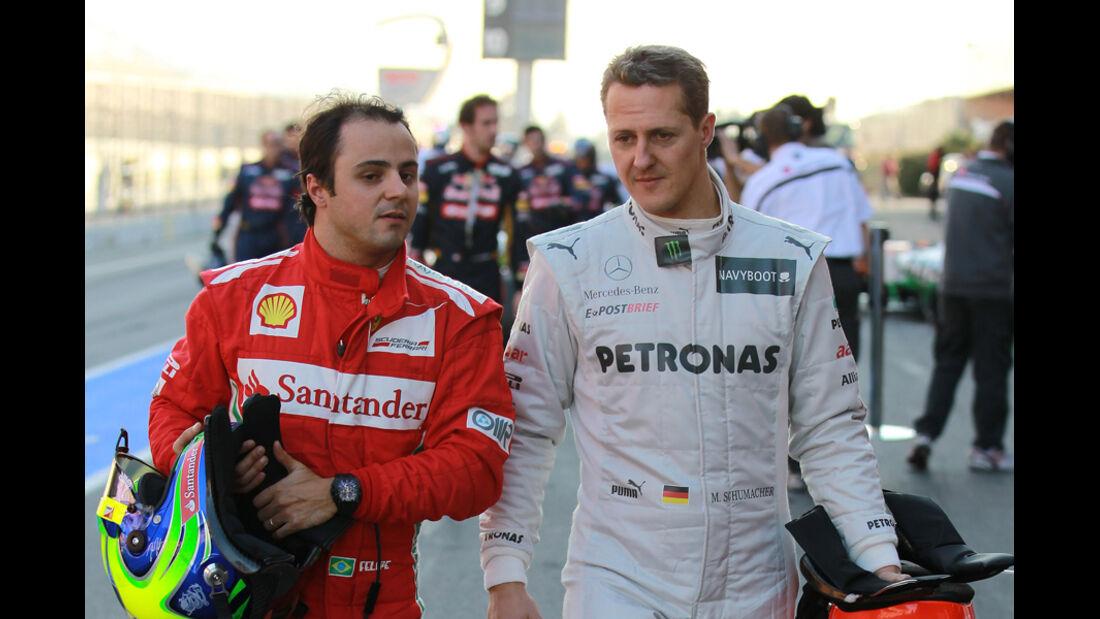 Formel 1-Test, Barcelona, 23.2.2012, Michael Schumacher, Felipe Massa