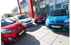 Frontansicht, Skoda Citigo 1.0, Kia Picanto 1.0, Renault Twingo 1.2, Fiat Panda 1.2