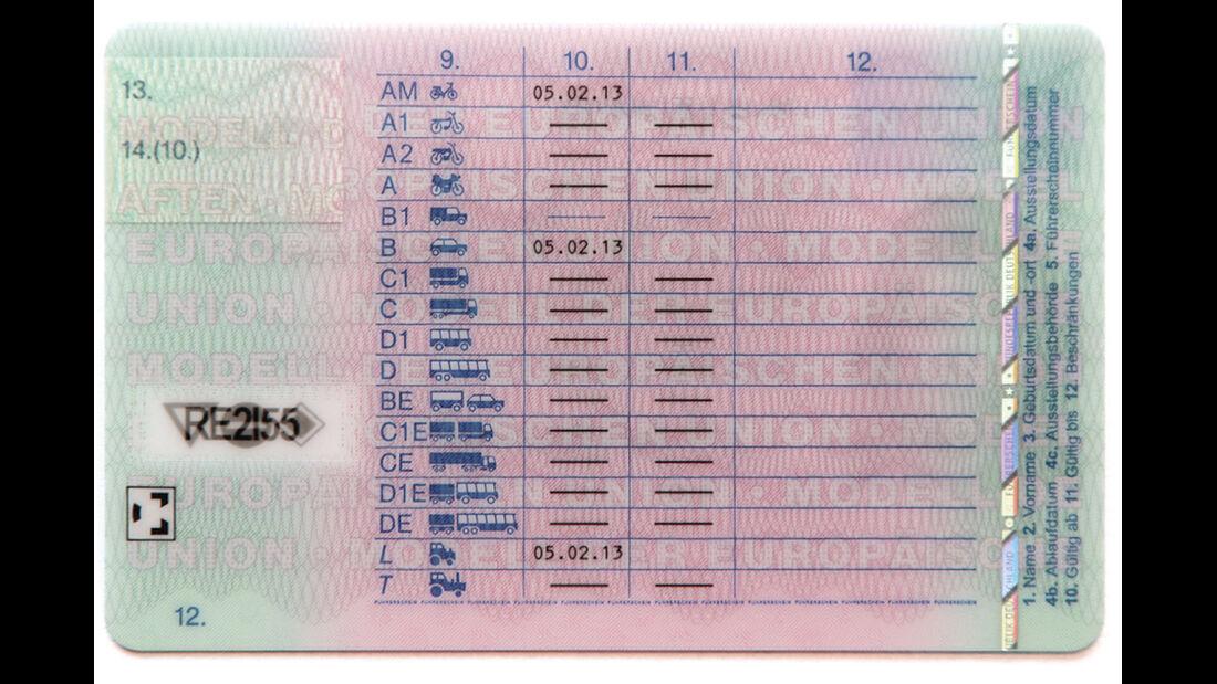 Führerschein, Klassen