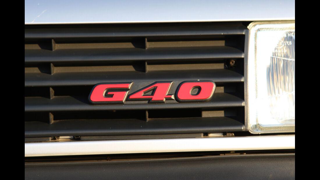 G40-Emblem im Kühlergrill des VW Polo G40