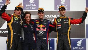 GP Bahrain 2013 Podium Vettel Räikkönen Grosjean