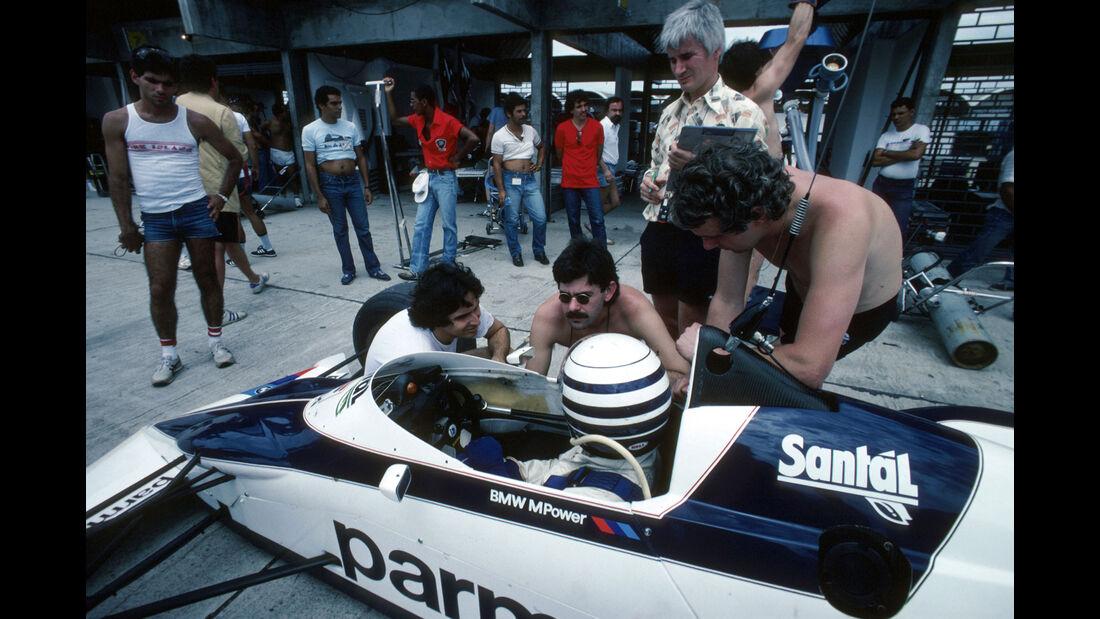 GP Brasilien 1983 - Brabham-BMW BT52 Turbo - Riccardo Patrese - Nelson Piquet - Gordan Murray - Charlie Whiting - Formel 1