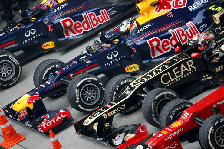 GP China 2012 Parc Ferme Red Bull Lotus Ferrari