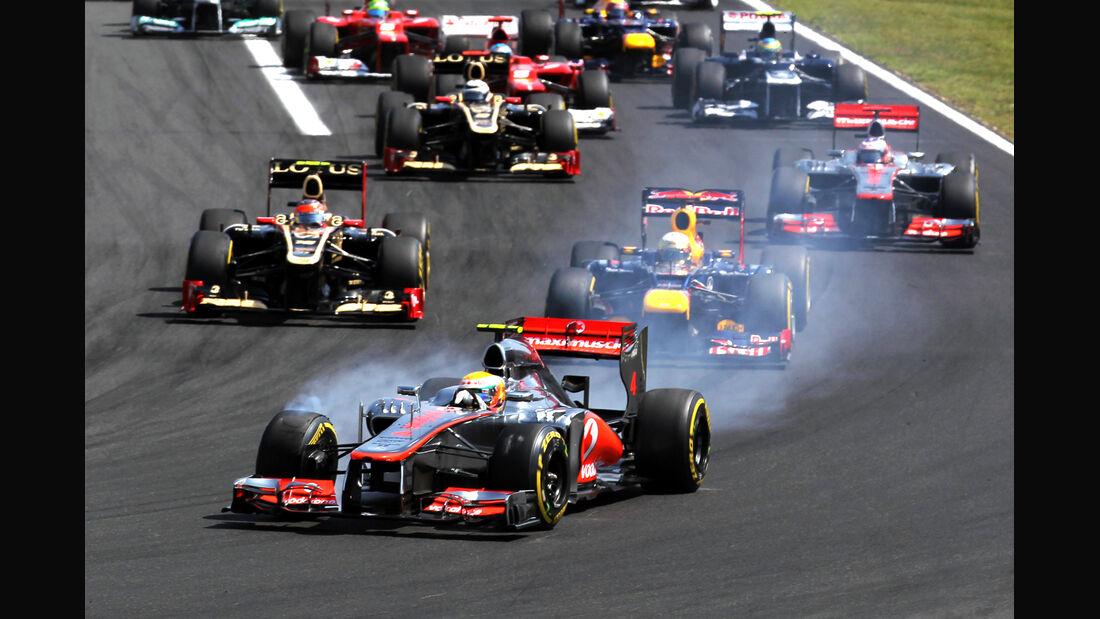 GP Ungarn 2012 Start Lewis Hamilton