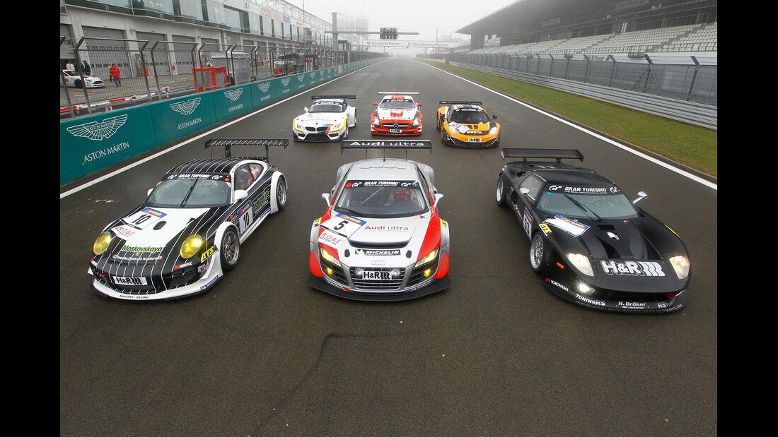 GT3-Modelle, Porsche, Audi, Ford, BMW, Mercedes, McLaren, Front