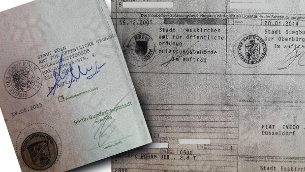 Gefälschte Fahrzeugpapiere Brief Schein Gebrauchtwagen Betrug
