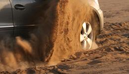 Geländewagen, Reifentest, Mercedes ML, Detail, Sandtraktion