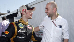 Gerard Lopez und Romain Grosjean F1 2012