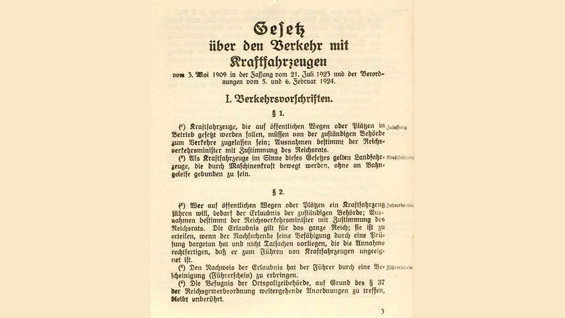 Gesetz über den Verkehr mit Kraftfahrzeugen, Fassung von 1923