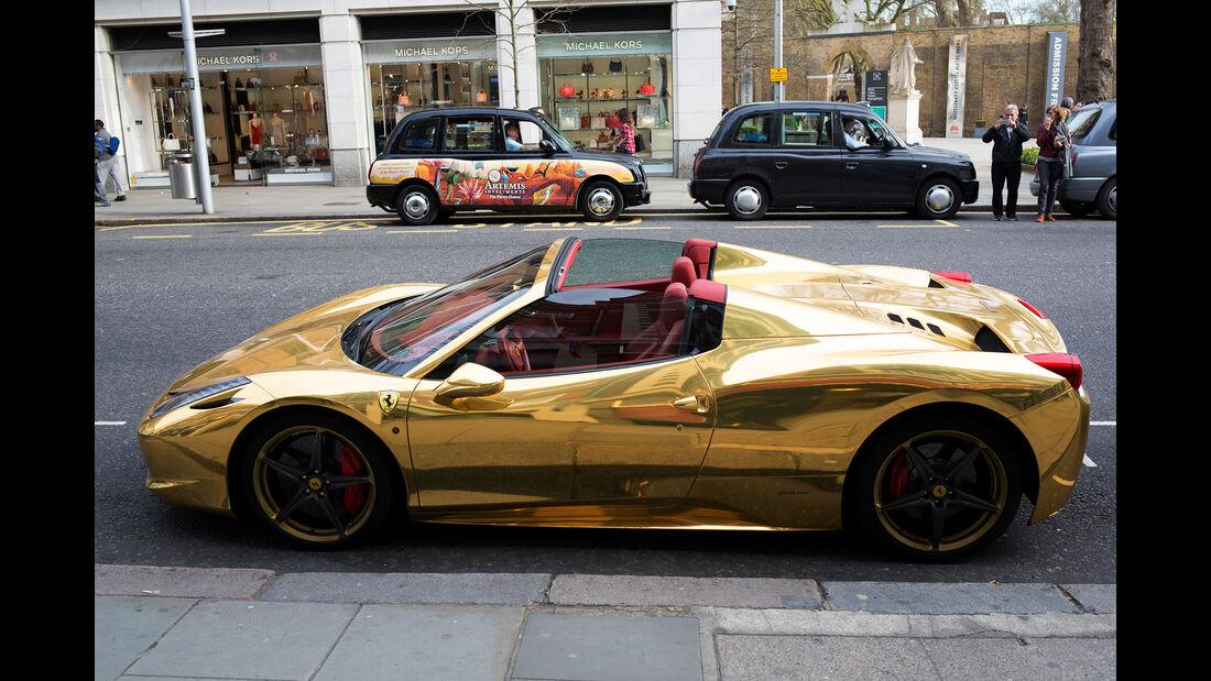 Gold Ferrari In London