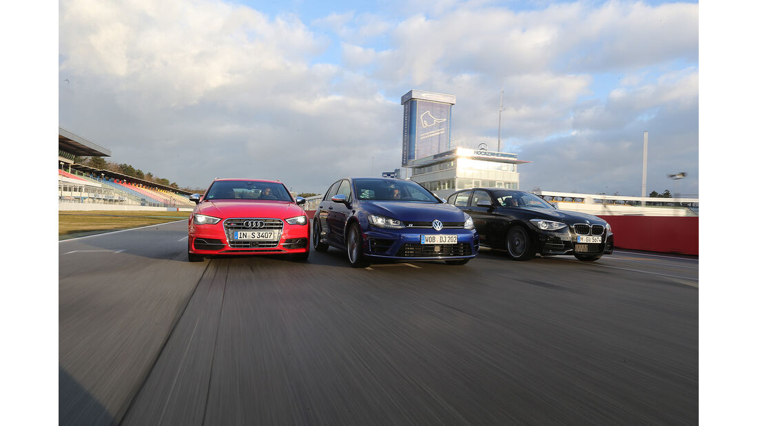 Golf R, Audi S3 Sportback, BMW M135i xDrive, Vergleichstest, spa 04/2014, Heftvorschau
