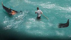 Gondoliere Venedig Boot Gondel Wasser Überladen Übergewicht