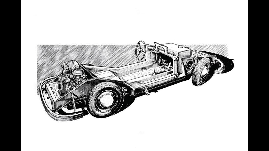 Grafik, Porsche, Kastenrahmen, Stahlblech