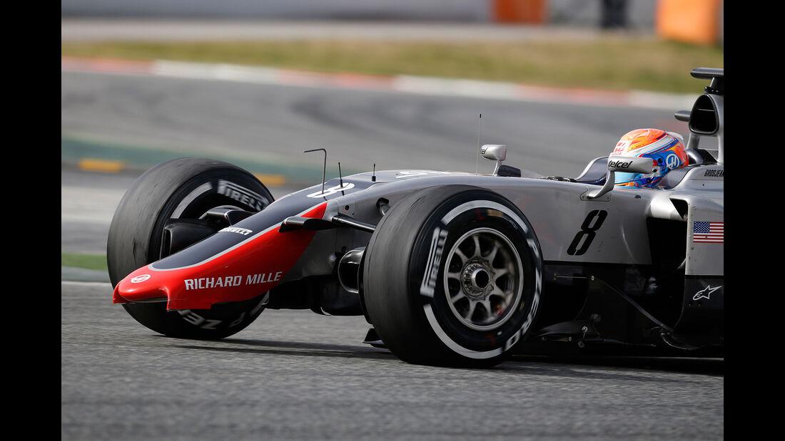 Haas F1 Frontflügelbruch, Barcelona Testfahrten