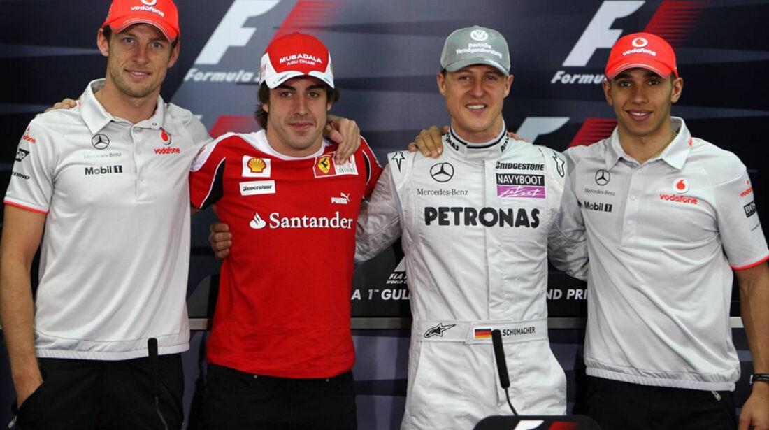 Hamilton, Alonso, Schumacher und Button