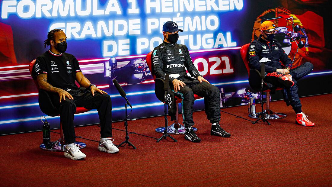 Hamilton, Bottas & Verstappen - FIA-Pressekonferenz - GP Portugal - Portimao - 1. Mai 2021