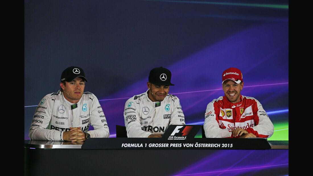 Hamilton - Rosberg - Vettel - GP Österreich - Qualifiying - Formel 1 - Samstag - 20.6.2015