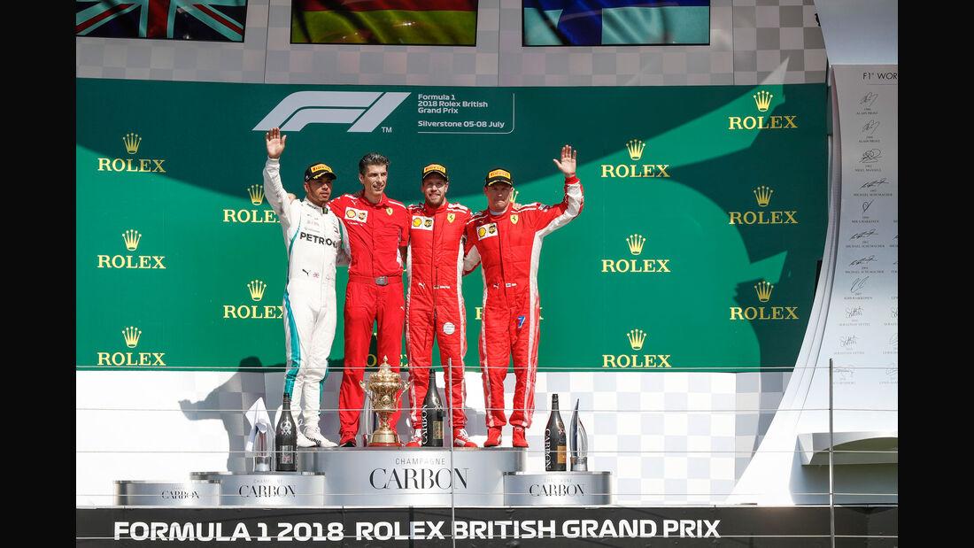 Hamilton - Vettel - Räikkönen - Podest - GP England 2018 - Silverstone - Rennen