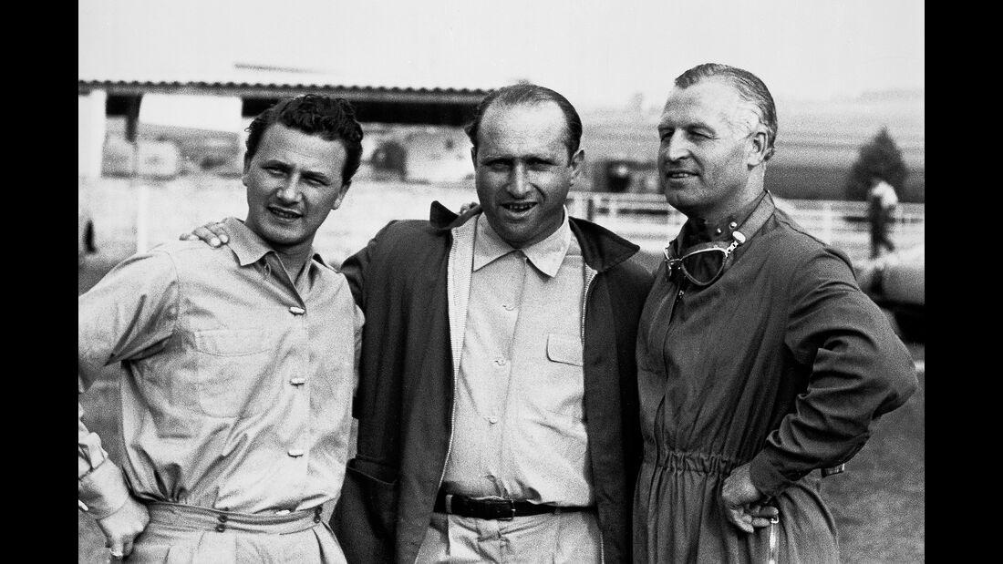 Hans Herrmann, Juan Manuel Fangio & Karl Kling - GP Frankreich - Reims - 1954