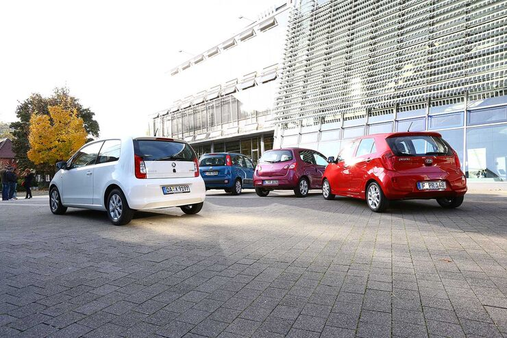 Heckansicht, Skoda Citigo 1.0, Kia Picanto 1.0, Renault Twingo 1.2, Fiat Panda 1.2