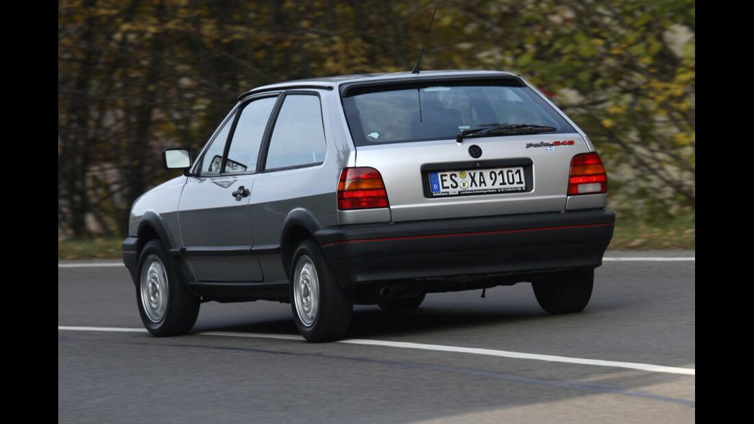 Heckansicht des VW Polo G40 in Fahrt