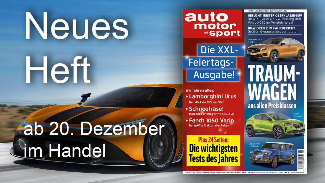 Heftvorschau Auto Motor und Sport Ausgabe 01/2019