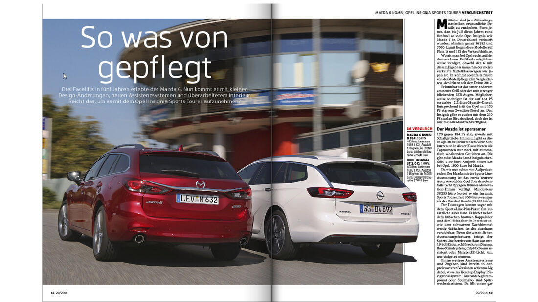 Heftvorschau, Mazda 6 vs Opel Insignia, ams2018