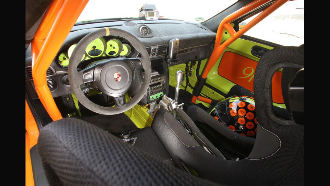 Highspeed-Test, Nardo, ams1511, 391km/h, 9ff Porsche 911 GT3, Cockpit, Lenkrad