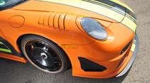 Highspeed-Test, Nardo, ams1511, 391km/h, 9ff Porsche 911 GT3, Vorderrad, Scheinwerfer, Motorhaube