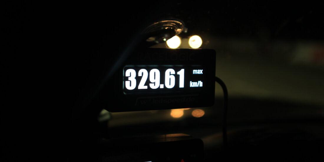 Highspeed-Test, Nardo, ams1511, 391km/h, G-Power BMW M3, Detail, km/h-Anzeige, 329.61
