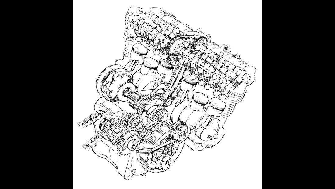 Honda CBX 1000, Zeichnung, Motor