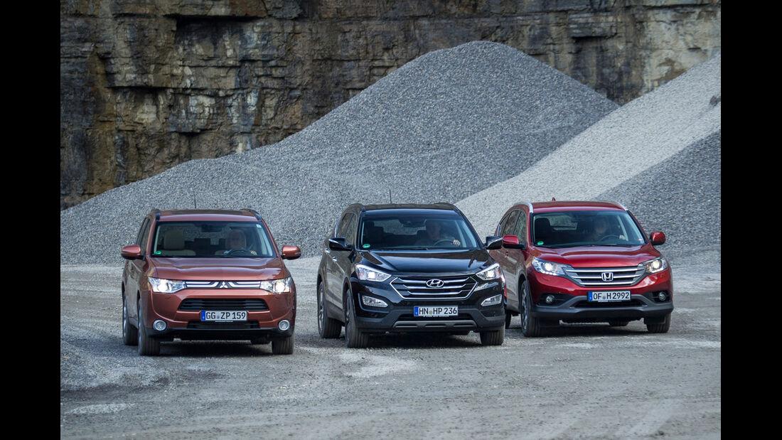 Honda CR-V, Hyundai Santa Fe, Mitsubishi Outlander, Frontansicht