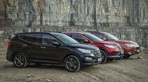 Honda CR-V, Hyundai Santa Fe, Mitsubishi Outlander, Seitenansicht