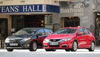 Honda Civic 1.6 i-DTEC, Toyota Auris 2.0 D-4D, Frontansicht