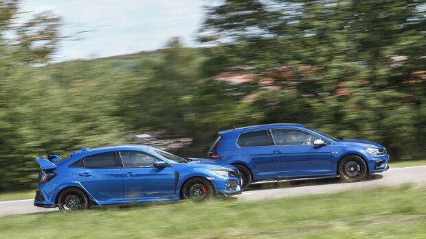 Honda Civic Type R, VW Golf R 2.0 TSI 4 Motion, Exterieur Seite