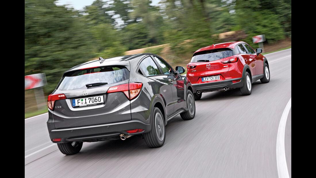 Honda HR-V 1.6 i-DTEC, Mazda CX-3 D 105, Heckansicht