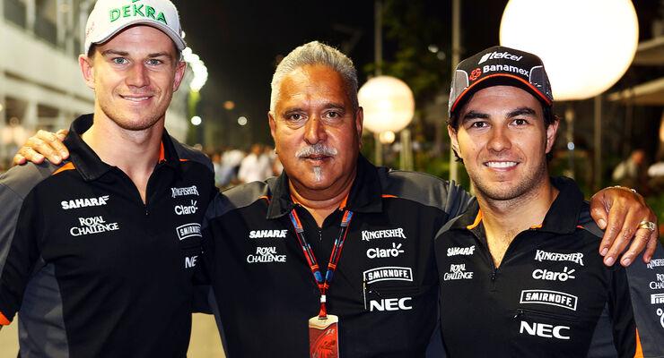Hülkenberg, Mallya & Perez - Force India - GP Singapur 2015