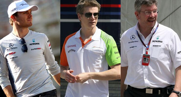 Hülkenberg, Rosberg & Brawn