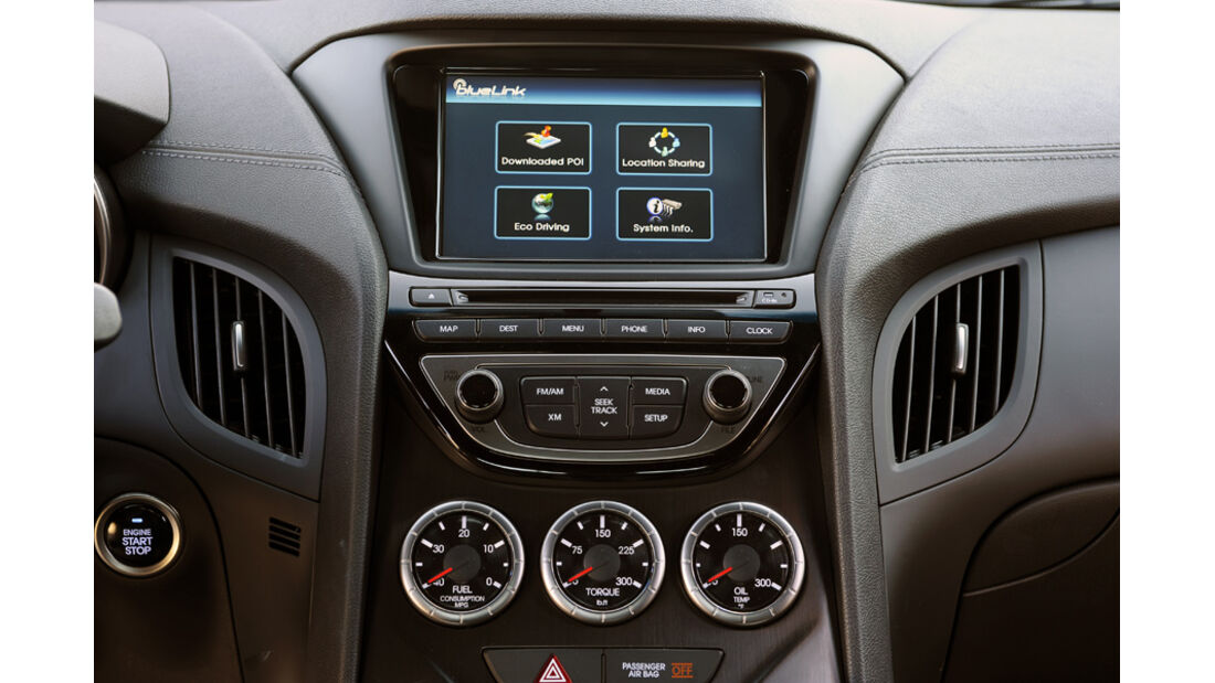 Hyundai Genesis Coupé GT, Mittelkonsole