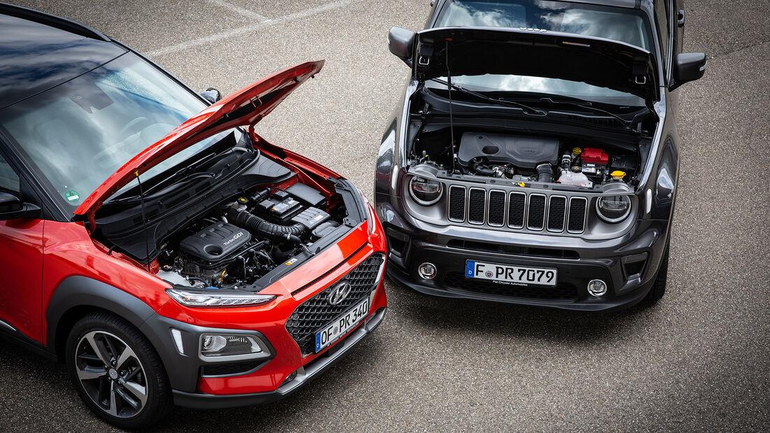 Hyundai Kona 1.0 T-GDI, Jeep Renegade 1.0 T-GDI, Motorraum