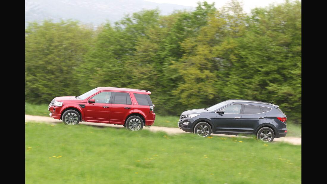 Hyundai Santa Fe 2.2 CR Di 4WD, Land Rover Freelander 2.2 SD4, Seitenansicht