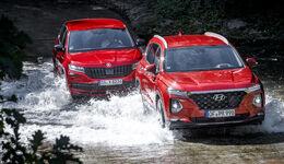 Hyundai Santa Fe 2.2 CrDi 4WD Premium, Skoda Kodiaq 2.0 TDI 4x4 Sportline, Exterieur