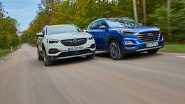 Hyundai Tucson 2.0 CRDi, Opel Grandland X 2.0 D, Exterieur