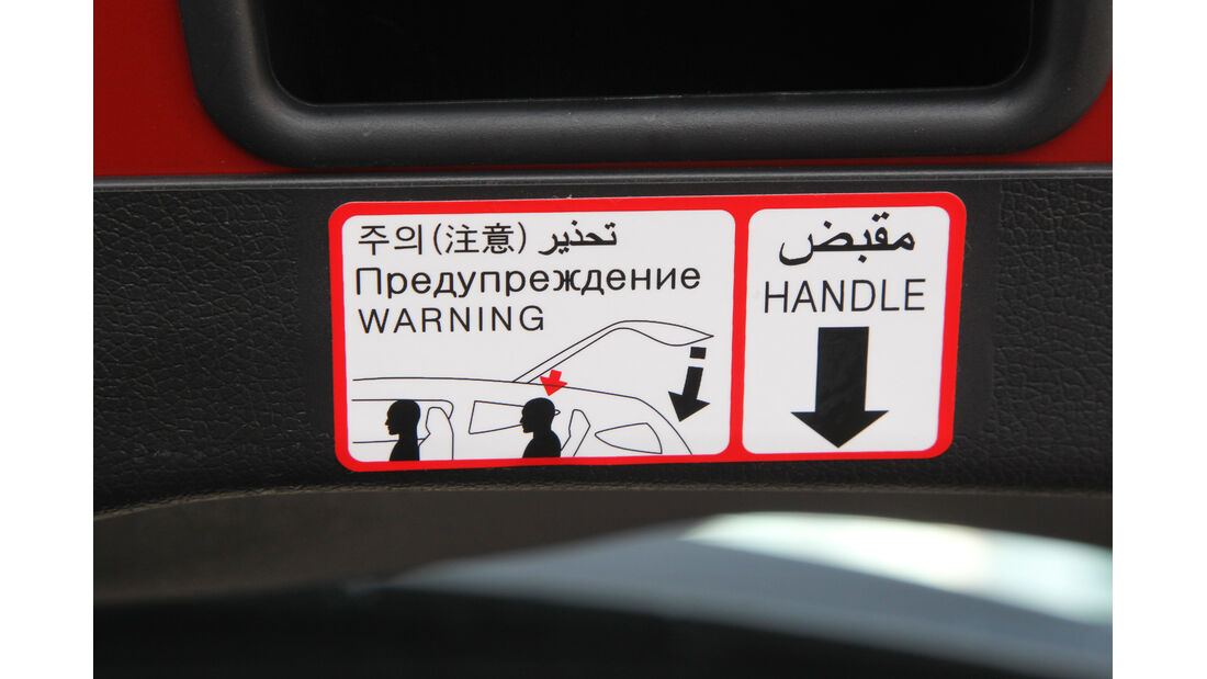 Hyundai Veloster Blue 1.6, Warnschilder