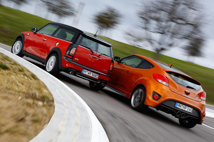 Hyundai Veloster Turbo, Mini Cooper S Clubman, Heckansicht