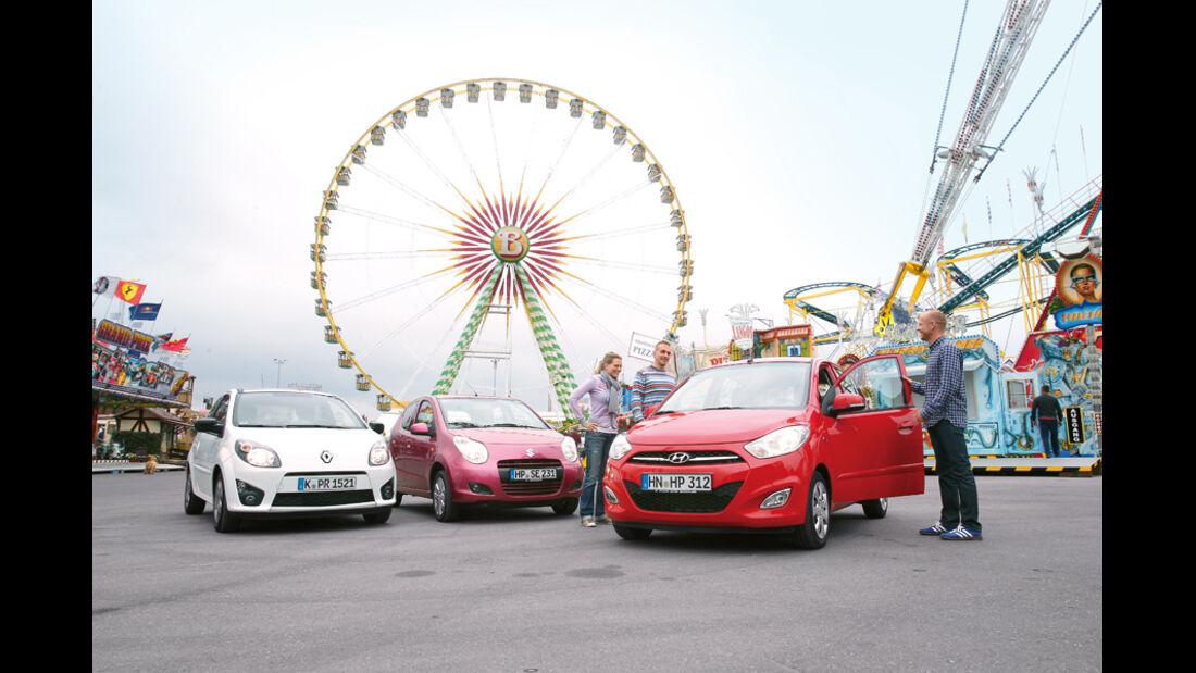 Hyundai i10 1.1 Style, Reault Twingo 1.2 16V Night & Day, Suzuki Alto 1.0 Club, Riesenrad, Frontansicht